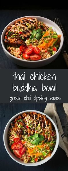 buddha bowl Thai chicken buddha bowl delivers big sweet, sour, salty and spicy flavours.Thai chicken buddha bowl delivers big sweet, sour, salty and spicy flavours. Asian Recipes, Healthy Recipes, Ethnic Recipes, Healthy Meals, Dinner Healthy, Healthy Breakfasts, Dinner Bowls, Food Bowl, Healthy Eating