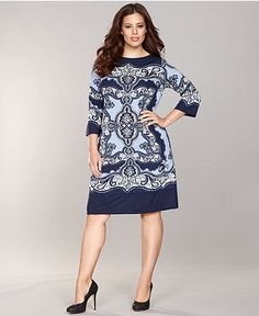 INC International Concepts Plus Size Dress, Three-Quarter-Sleeve Printed Shift - Womens Dresses - Macy's