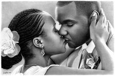 We can say for sure that Linda Huber is a true artistic freak. She is dedicated to making incredibly realistic pencil drawings.She claims that she is a self taught professional pencil artist. Black And White Drawing, Black Love, Black Is Beautiful, Realistic Pencil Drawings, Graphite Drawings, Kissing Reference, Black Couple Art, African American Art, Photorealism