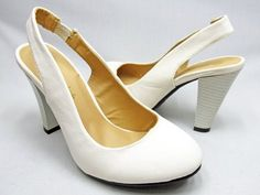 White Pumps with Open Heel