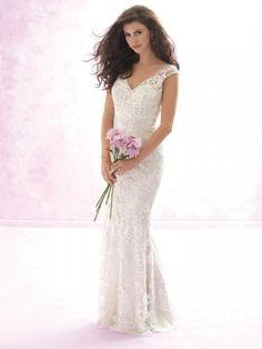 Robes de mariée en dentelle applique traîne courte sans manches glamour et moderne pas cher