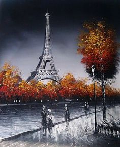 Eiffel Tower Paris Autumn painting.