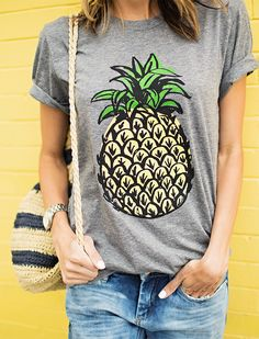 DETAILS:PINEAPPLE TEE(SIZE SMALL – BOYFRIEND FIT)   DISTRESSED BOYFRIEND JEANS(MORE SIZES HERE25% OFF)    WHITE CONVERSE    STRIPED STRAW BUCKET BAG(25% OFF CODE: SPRING25)   SILVER WAT…
