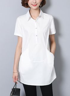 Camicie Casual Cotone Manica corta Colletto Monocolore 89c5139a41e