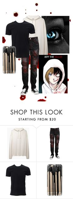 """""""Going into the human world : jeff the killer"""" by scarlet-snow2603 ❤ liked on Polyvore featuring Base Range, Casetify, men's fashion and menswear"""