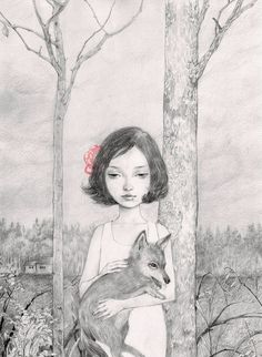 The Little Red Riding Hood Print by helicewen