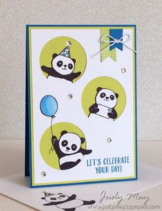 """Party Pandas, Better Together, Birthday Delivery, Happy Birthday Gorgeous, Tutti-Fruit DSP, Eastern Palace Specialty DSP, Silver & White Baker's Twine, Rhinestones, Metallic Enamel Shapes, Basics Pack 1 Washi Tape, 1-3/4"""" Circle punch, Stampin' Write Markers, Copic Markers, White Gel pen (Exterior - Pacific Point & Lemon Lime Twist)"""