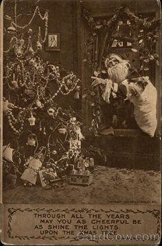 Circa corner wear as shown. Christmas History, Christmas Past, Photo Postcards, Vintage Postcards, Saint Nicolas, Shine The Light, Vintage Santa Claus, Antique Christmas, Kids Sleep