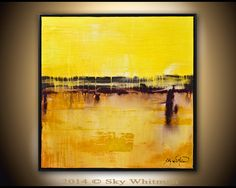 Original Framed Square Yellow and Burnt Amber by originalmodernart, $325.00