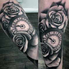 Gorgeous Roses And Pocket Watch Tattoo On Forearms Male