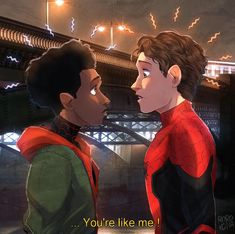 Miles Morales & Peter Parker 🕷 - FFH will introduce multiverse.there is also an Iron Man mural done in the trailer . Marvel Avengers, Marvel Fan Art, Marvel Jokes, Marvel Funny, Quicksilver Marvel, All Spiderman, Arte Dc Comics, Die Rächer, Cinema Tv