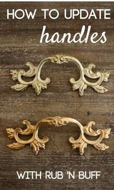 How to update handles with Rub N Buff. Easy DIY alternative to paint or getting new drawer pulls or hardware. Will work for furniture makeovers or cabinets. Dresser Hardware, Dresser Handles, Dresser Drawer Pulls, Furniture Hardware, Cabinet Knobs, Rub N Buff, Vintage Drawer Pulls, Vintage Drawers, Kitchen Furniture