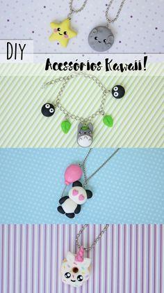 DIY: Como fazer acessórios Kawaii!  Colar da amizade de lua e estrela, pulseira do Meu vizinho Totoro, Colar de Panda com balão e colar de donut de unicórnio! ♥