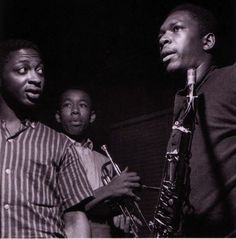 Curtis Fuller, Lee Morgan, and John Coltrane at Coltrane's Blue Train session, Hackensack NJ, September 151957 (photo by Francis Wolff)