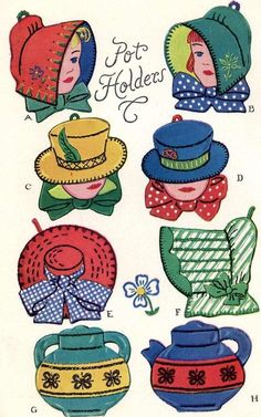 Vintage Embroidery Transfer repo 1662 Pot Holder PATTERNS Bonnets Hats Teapot