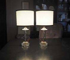 PAIR of Vintage Glass Boudoir Lamps by FireflyVintageHome on Etsy