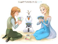 Anna, Olaf, and Elsa playing cards.
