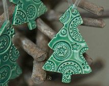SALE Christmas Tree Ornaments Lace Ceramic Christmas Ornaments  Mint Winter Home Decoration Gift Set of 3