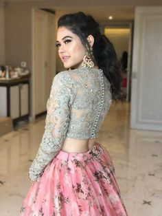 11 Trending Bridesmaids Looks To Steal For Your Next Wedding Function! Indian Gowns Dresses, Indian Fashion Dresses, Indian Designer Outfits, Fashion Outfits, Engagement Hairstyles, Engagement Outfits, Prom Hairstyles, Pretty Hairstyles, Lehnga Dress