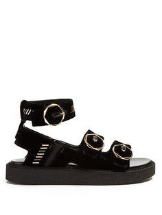 NICHOLAS KIRKWOOD Eva Velvet Embellished Sandals. #nicholaskirkwood #shoes #sandals