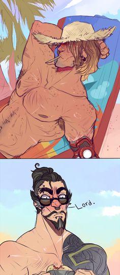 Overwatch Hanzo, Overwatch Memes, Overwatch Fan Art, Famous Art Paintings, Good Omens Book, Guy Drawing, Anime Boyfriend, Hero Academia Characters, Gaming Memes