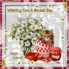 Wishing you a sweet day coffee animated kitty good morning good day good morning greeting good morning gif