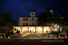 Lake Lure Inn wedding reception at night.  Mountain destination wedding.  Camilla Calnan Photography.