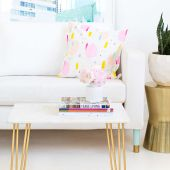 DIY Marble and Gold Accent Table - leather woven stool too