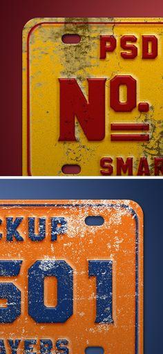 #Vintage Number Plate Mockup PSD #MockupPSD #FreePSD
