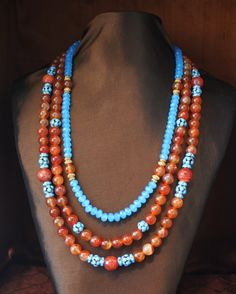 Orange Fire Agate, Ocean Blue Crystals & Faux Turquoise Beads Ne