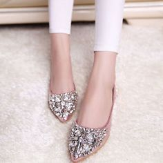 New Women Ballet Flats Pointy Loafers Rhinestone Moccasins Shiny Ballerina Shoes