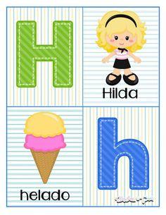 Tarjetas para trabajar el abecedario - Imagenes Educativas Alphabet Letters Images, Alphabet Cards, Math For Kids, Science For Kids, Pre Kindergarten, Classroom Door, Preschool Lessons, Kids And Parenting, Homeschool