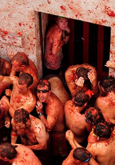 Hurry up!!! Book your #hostel in Valencia and enjoy #Tomatina with us. You don't know what  it is? Is the world's largest tomato fight is a weeklong celebration that includes #music, parades and fireworks, but is highlighted by the tomato fight in the town square. The battle begins at high noon after more than 300,000 pounds of tomatoes are trucked in. For one hour, locals and tourists pelt and pummel each other, creating a memorable and mushy mess.
