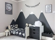 Looking to create a children's monochrome bedroom. Then check out how I created . Looking to create a children's monochrome bedroom. Then check out how I created this look in my son's bedroom, including painting mountains in his bedroom. Boys Bedroom Paint, Bedroom Small, Dream Bedroom, Kids Bedroom Boys, Boy Toddler Bedroom, Kids Room Paint, Child Room, Bedroom Art, Mountain Bedroom