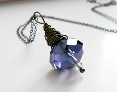 Wire warpped tanzanite crystal sterling silver by mylittletree, $22.00
