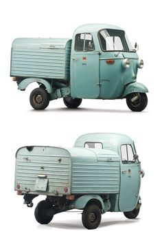 """mynameismad: """" doyoulikevintage: """" 1963 Vespa Ape """" oh man there's one that looks almost exactly like this that sits in front of the vespa store a few streets over SO COOL TO LOOK AT """" Vespa Ape, Piaggio Vespa, Scooters Vespa, Moto Scooter, Vespa Lambretta, Scooter Shop, Vintage Vespa, Vintage Cars, Microcar"""