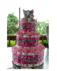 Prance the cat on a cute zebra ribbon Diaper Cake from GKBabyGifts