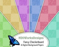 Fancy Checkerboard 8.5x11 Digital Backgrounds, PRINTABLE PAPER - Digital Collage Sheet  by H20worksDesigns