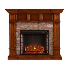 Shop Boston Loft Furnishings 45.75-in W 5,000-BTU Buckeye Oak MDF LED Electric Fireplace with Thermostat and Remote Control at Lowes.com
