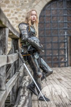 """Female armor kit made of blackened spring steel """"Dark Star"""" for sale. Available in: stainless, blackened spring steel, mirror polishing, satin polishing :: by medieval store ArmStreet Armadura Medieval, Female Armor, Female Knight, Lady Knight, Medieval Armor, Medieval Fantasy, Medieval Girl, Medieval Knight, Fantasy Characters"""