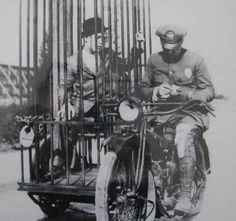 In 1920, police motorcycle's had cages for a sidecar for arrests..