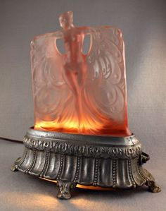 RARE ART DECO NUDE BUTTERFLY DANCER 1920s ANTIQUE LAMP McKEE GLASS COMPANY NR