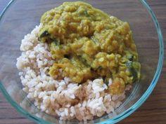 Lentil dahl with spinach Lentil Dahl, Night Food, International Recipes, Lentils, Fried Rice, Spinach, Meals, Dinners, Vegetarian