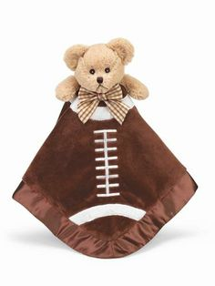 Bearington Baby Embroidered Personalized Touchdown Snuggler # 198921 Security Blankie measures 18 x 18 inches and is the perfect soft cuddley lovey for your little one. Makes a great gift for a newborn baby boy or baby girl.  Please select a font and thread color and let us know what name you want on the blanket. We will embroider in the corner of the blanket.