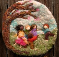 Needle Felted Sculptural Wool Painting Come Play With Us bas