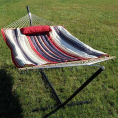 Enjoy lazy days and warm weather in the Sunnydaze Decor Modern Lines 12 ft. Rope Hammock with Steel Stand . This soft yet durable cotton hammock showcases. Rope Hammock, Hanging Hammock Chair, Outdoor Hammock, Swinging Chair, Outdoor Blanket, Camping Hammock, Free Standing Hammock, Double Hammock With Stand, Couches