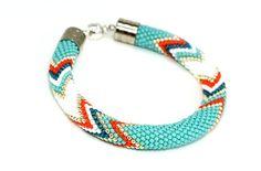 Bead Crochet Bracelet Turquoise Mint Orange Bracelet by KittenUmka