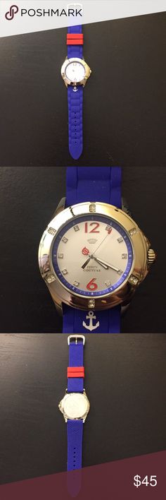 Blue Juicy Couture watch Stainless steel, waterproof watch. Never worn. Juicy Couture Accessories Watches
