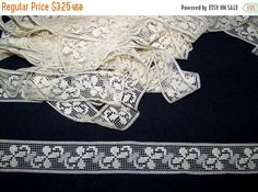 Nice vintage lace which is a soft off white in color. It is in good condition and is 1 3/8 wide. Great for lingerie, millinery or boudoir items. The listing is for one yard. I am always happy to ship world-wide except for Italy because of the strict restrictions.