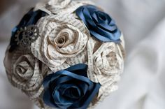 Dr. Who Sonic Screwdriver Handled Paper/Book Page Flower Bouquet 14 Roses on Etsy, $138.00